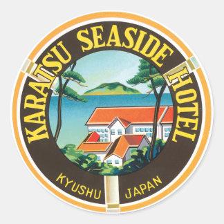 Anuncio del hotel de la playa de Karatsu Pegatina Redonda