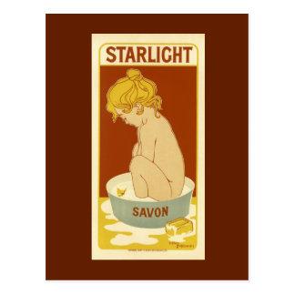 Anuncio del jabón del vintage de la luz de las tarjeta postal