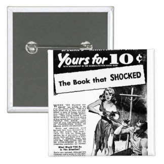 ¡Anuncio del kitsch retro del vintage mún el libro Pin Cuadrada 5 Cm