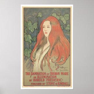 Anuncio del libro del nouveau del arte del vintage poster