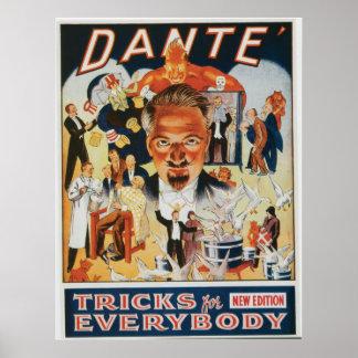 Anuncio del mago del vintage de Dante Poster