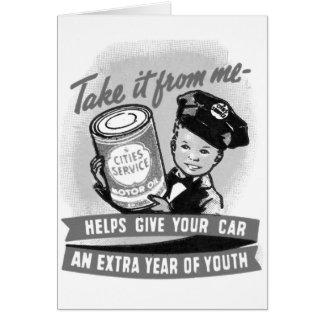 Anuncio del niño de la gasolinera del gas del vint felicitacion