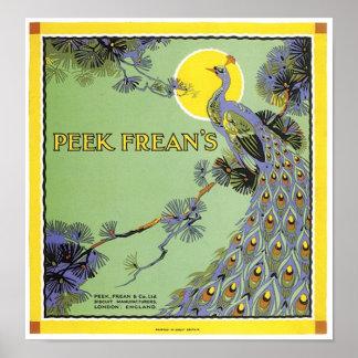 Anuncio del pavo real de Frean de la ojeada Posters