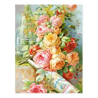 Anuncio del perfume con los rosas postales