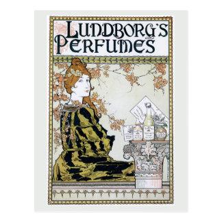 Anuncio del perfume del nouveau del arte del postales