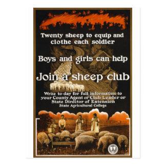 Anuncio del poster de las ovejas de la guerra mund tarjetas postales
