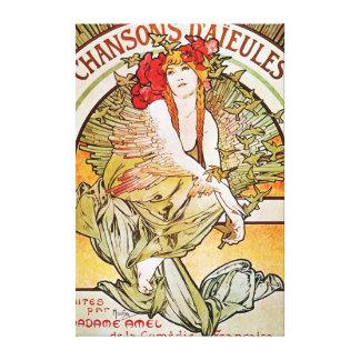 Anuncio del teatro del vintage de Chansons Impresiones En Lienzo Estiradas