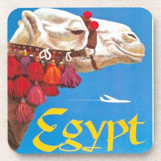 Anuncio del transporte aéreo de Egipto del vintage Posavasos