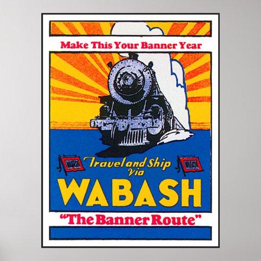 Anuncio del tren de Wabash del vintage Póster
