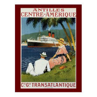 Anuncio del viaje de Antillas del vintage Tarjeta Postal