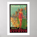 Anuncio del viaje de Atlantic City del vintage Poster