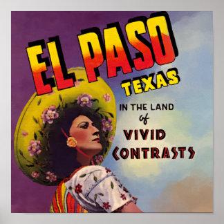 Anuncio del viaje de El Paso, Tejas 1940 Póster