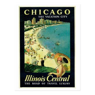 anuncio del viaje de la playa de Chicago de los añ Tarjetas Postales