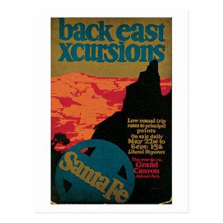 Anuncio del viaje de Santa Fe de los años 20 del Postales
