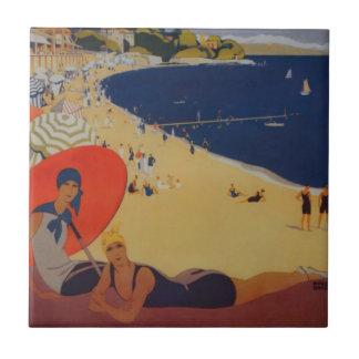 Anuncio del viaje del francés del vintage azulejo cuadrado pequeño