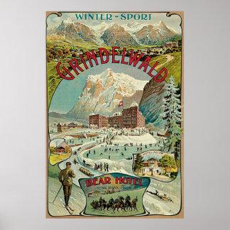 Anuncio del viaje del suizo de Grindelwald del vin Posters