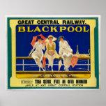 Anuncio del viaje del vintage/Blackpool Inglaterra Póster