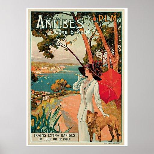 Anuncio del viaje del vintage de Antibes Francia Poster