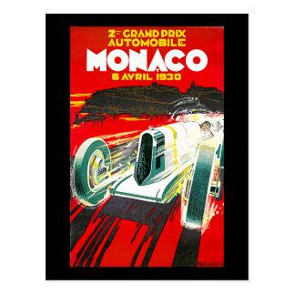 Anuncio del viaje del vintage de Monoco Grand Prix Tarjeta Postal