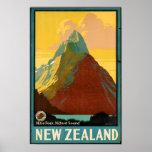 Anuncio del viaje del vintage de Nueva Zelanda Poster