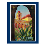 Anuncio del viaje del vintage de Palermo, Italia Tarjetas Postales