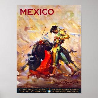 Anuncio del viaje del vintage del torero de México Poster