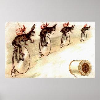 Anuncio del vintage - conejos en las bicis poster