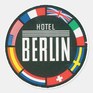 Anuncio del vintage de Berlín del hotel Pegatina Redonda