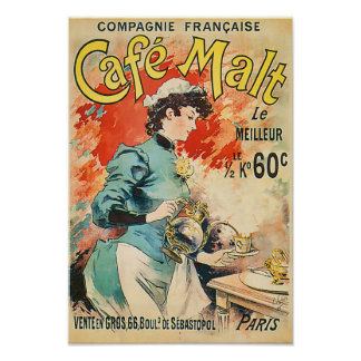Anuncio del vintage de Cafe Malt le Meilleur Póster