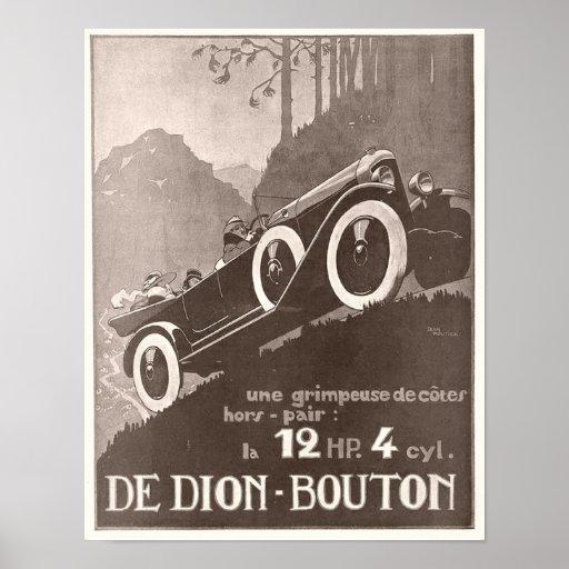 Anuncio del vintage de De Dion Bouton Póster