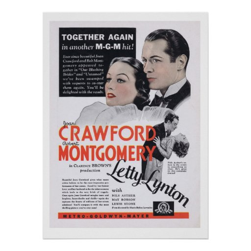 Anuncio del vintage de Joan Crawford Letty Lynton Impresiones