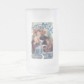 Anuncio del vintage de la Mosa del la de Bieres de Taza De Cristal