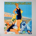 Anuncio del vintage de la natación de Piscina Póster