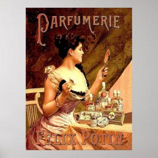 Anuncio del vintage de la tienda del perfume póster