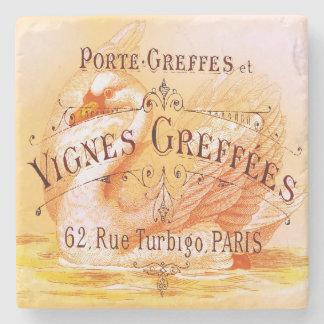 Anuncio del vintage de la vid del vino francés posavasos de piedra