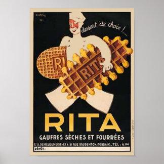 Anuncio del vintage de las galletas de Rita Posters