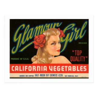 Anuncio del vintage de las verduras de California Tarjeta Postal