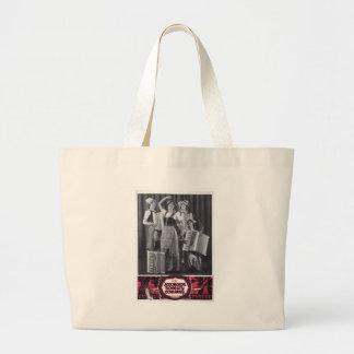 Anuncio del vintage de los chicas del acordeón bolsa tela grande