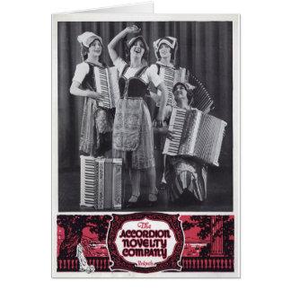 Anuncio del vintage de los chicas del acordeón felicitación
