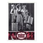 Anuncio del vintage de los chicas del acordeón tarjeta postal