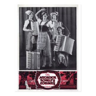 Anuncio del vintage de los chicas del acordeón tarjetas postales