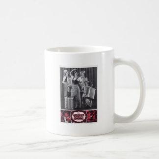 Anuncio del vintage de los chicas del acordeón taza de café