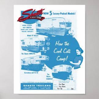 Anuncio del vintage del campista de Shasta - gatos Póster