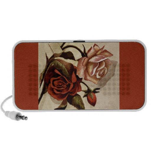 Anuncio del vintage del capullo de rosa de los ros notebook altavoz