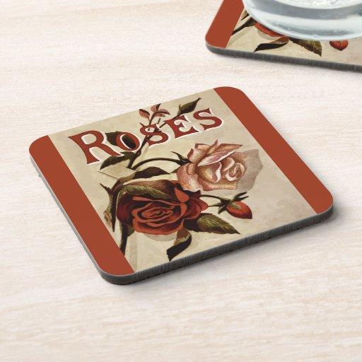 Anuncio del vintage del capullo de rosa de los ros posavasos