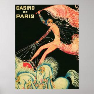 Anuncio del vintage del ~ del de París del casino Póster