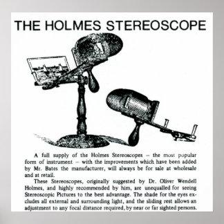 Anuncio del vintage del estereoscopio de Holmes Póster