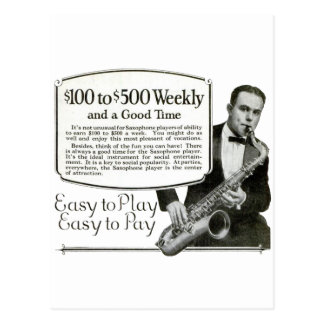 Anuncio del vintage del saxofón postal