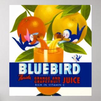 Anuncio del vintage del zumo de naranja del Bluebi Posters