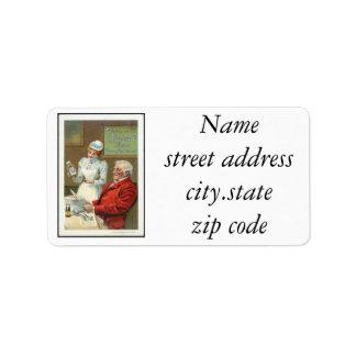 Anuncio del vintage etiquetas de dirección